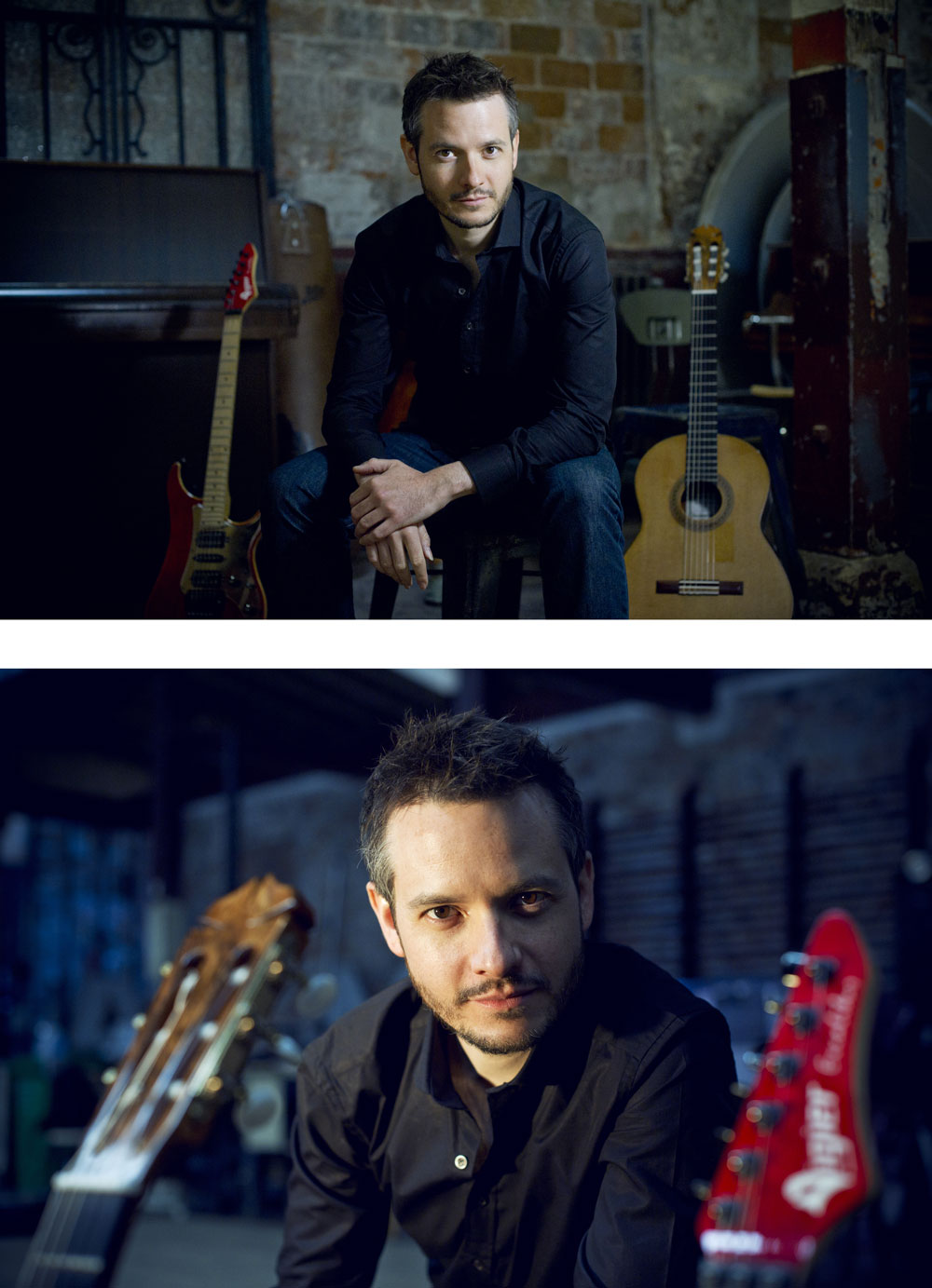 Pierre Bibault pose devant ses guitares